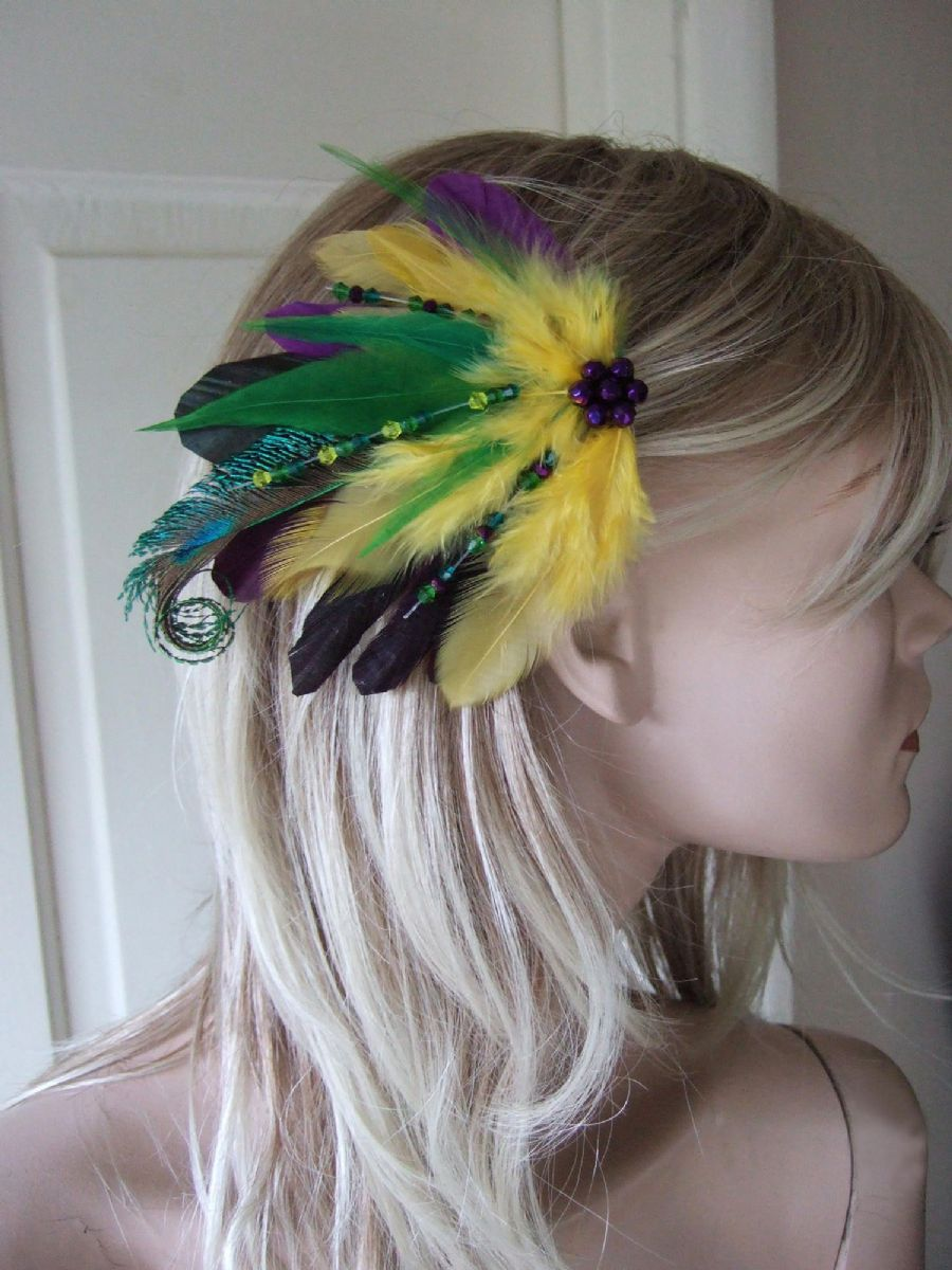 "Green Purple & Yellow Peacock Feathers with Swarovski Crystals Tropical Bridal Fascinator ""Emma"""